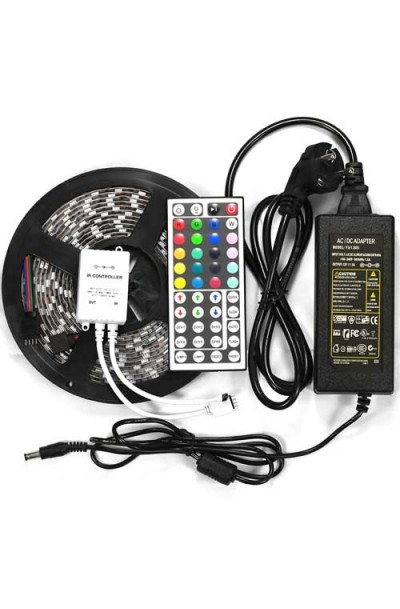 LED Strip RGB 5050 led light 300leds 5 MTR+44keys remote controller+Power adapter 12V 5 AMP